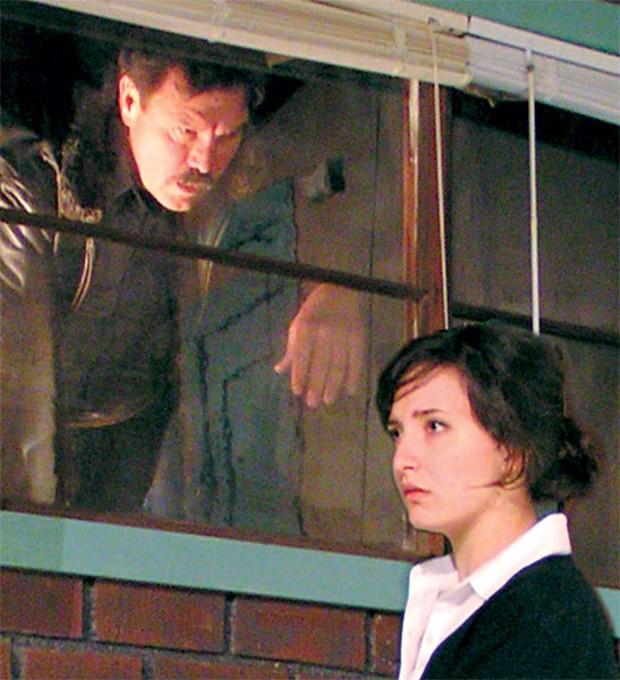Tom Conlon as Carlino and Alexandra Gellner as Suzy in Wait Until Dark, opening Thursday at Ferndale Rep.