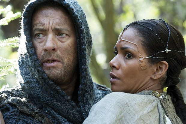 Tom Hanks and Halle Berry look concerned in Cloud Atlas.