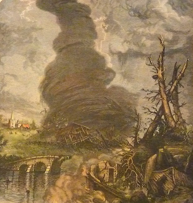 Tornado - GERMAN ETCHING, DONE BY AN ARTIST WHO'D NEVER SEEN A TORNADO AND DREW IT UPSIDE-DOWN