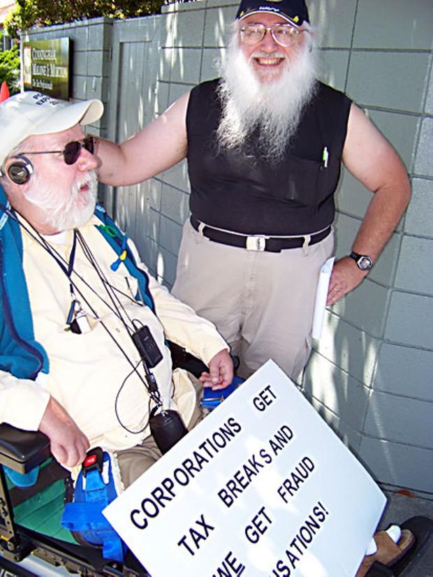 TR Wilson and his caregiver, Bert Reid.  Photo by Heidi Walters