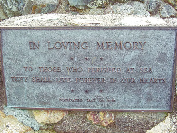 Trinidad memorial to those lost at sea, about 2000 feet from the crash site, photographed by Milushev's mother. Photo courtesy of Richard Collier.