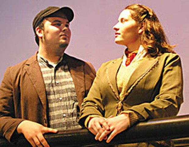 Tristin Roberts and Laura Hathaway play Jim Farrel and Kate McGowan, two Third-Class passengers from Ireland on the ill-fated Titanic, in the Humboldt Light Opera Company production of Titanic: A New Musical.  Photo courtesy of HLOC.