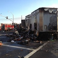 Two Killed, UPS Big Rig Burned in Fiery Collision