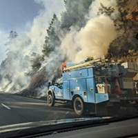 Update: Traffic Diverted to Avenue of the Giants; Fire on 101 Near Myers Flat