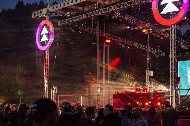 Worthy b2b Option4 perform at the main stage of Northern Nights Music Festival on Friday evening. - PHOTO BY ALEXANDER WOODARD
