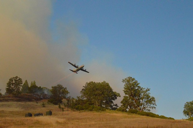 A plane helps battle the Eel Fire. - COURTESY OF MENDOCINO NATIONAL FOREST