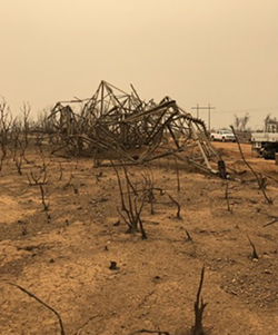 """Aftermath of the Carr Fire """"fire whirl."""" - CALFIRE/NWS"""