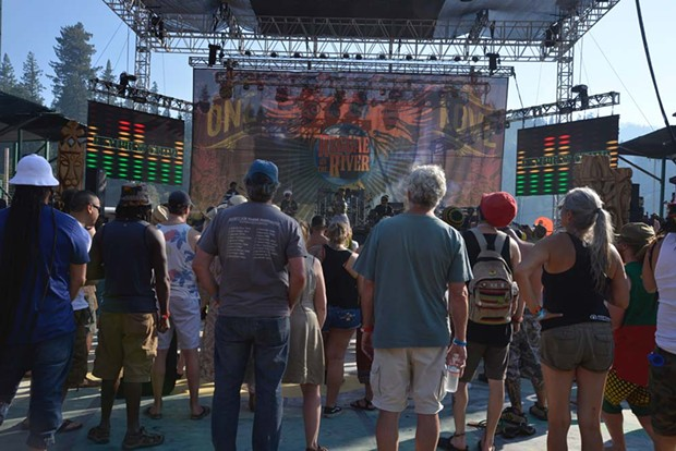 The stage during Hempress Sativa's set on Friday afternoon. - PHOTO BY ERICA BOTKIN