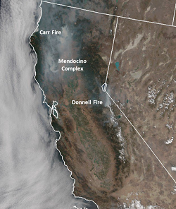 Satellite imagery of wildfire smoke in the state. - NOAA