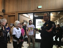 Arcata Interim Police Chief Richard Ehle offers an update on the investigation into the stabbing death of David Josiah Lawson. - CARMEN PENA-GUTIERREZ