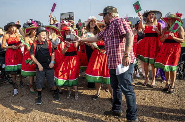 """Ferndale native son Guy Fieri was on hand Saturday to present the Grand Prize and trophy to team """"A Slice of Family, Friendshp and Fun at the Races."""" - PHOTO BY MARK LARSON"""