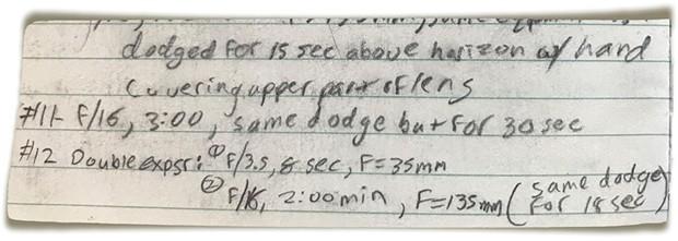 David Wilson's exposure notes from taking the shot in 1990. - DAVID WILSON