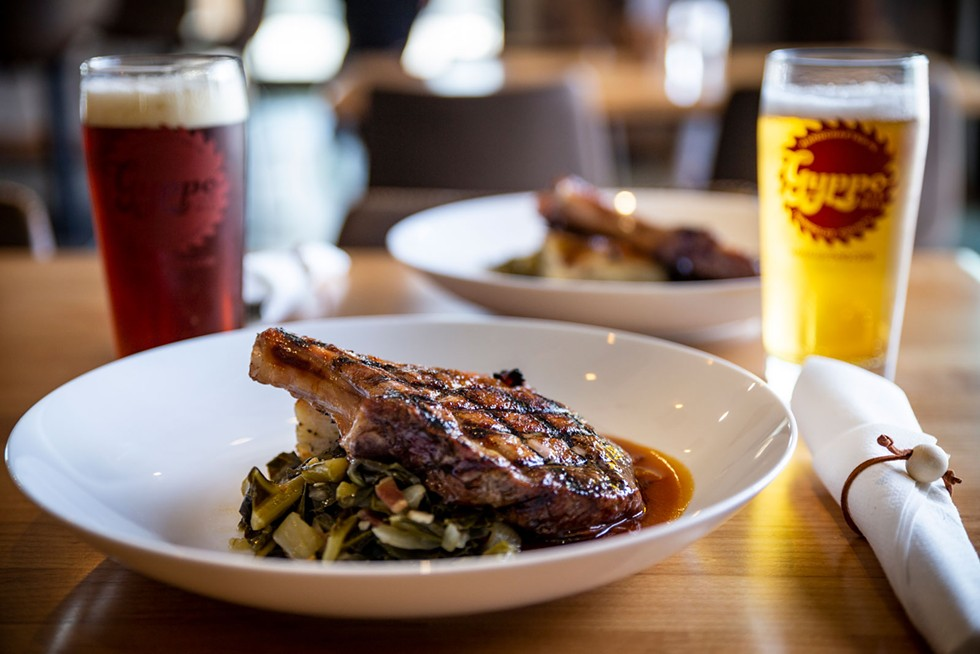 Sweet brined Berkshire pork chop at Gyppo Ale Mill. - SAM ARMANINO