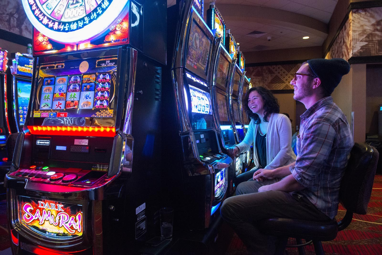 Fresh air and slot machines at Redwood Hotel and Casino. - MARK MCKENNA