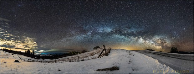 The Milky Way above a snowy landscape outside of Kneeland, California, early on the morning of Feb. 21, 2018. - DAVID WILSON
