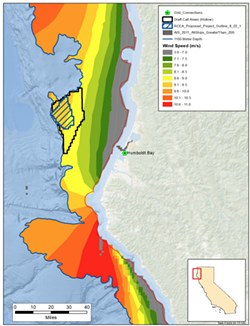 This map shows wind resources off the North Coast as well as the areas being considered for development by BOEM and RCEA. - BOEM