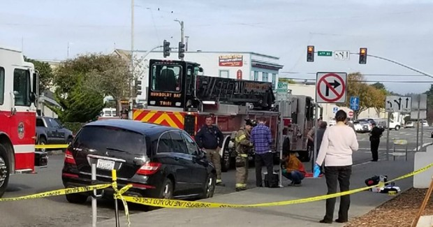 Emergency crews at the I Street side of the courthouse, where a suspicious powder was found. - COURTESY OF MICHELLE BISHOP