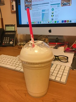 A milkshake delivered from Ultimate Yogurt to the Journal office via Uber Eats. - PHOTO BY JENNIFER FUMIKO CAHILL