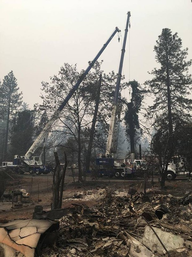 Scene from the Camp Fire earlier this week. - BUTTE FIRE