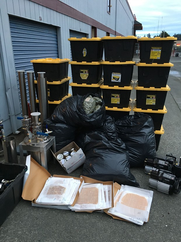 Components of a hash oil lab found in the storage unit. - HCSO