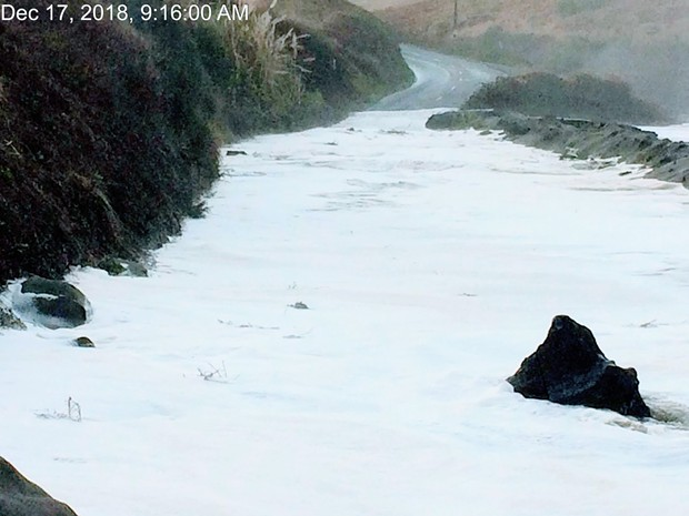 Centerville Road is overrun by surf on Dec. 17. - COUNTY OF HUMBOLDT