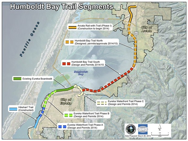 A map of the Humboldt Bay Trail. The 4-mile section in red has yet to be completed. - SUBMITTED