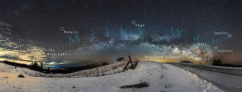Annotated snowy pre-dawn scene was just outside of Kneeland. at 5 a.m. on Feb. 21, 2018. - PHOTO B Y DAVID WILSON