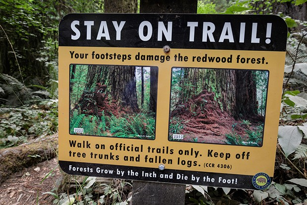 Stay on trail sign. - PHOTO BY MAX FORSTER