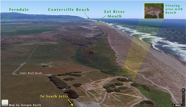 Google Earth view looking south from Table Bluff County Park, in the foreground, with the Eel River delta in the distance. Google Earth screen shot fall 2017. - GOOGLE EARTH