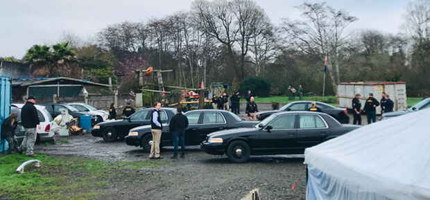 EPD officers and other agencies at the scene. - PHOTO BY RYAN HUTSON