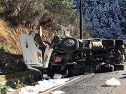 The crashed tanker. - CALTRANS