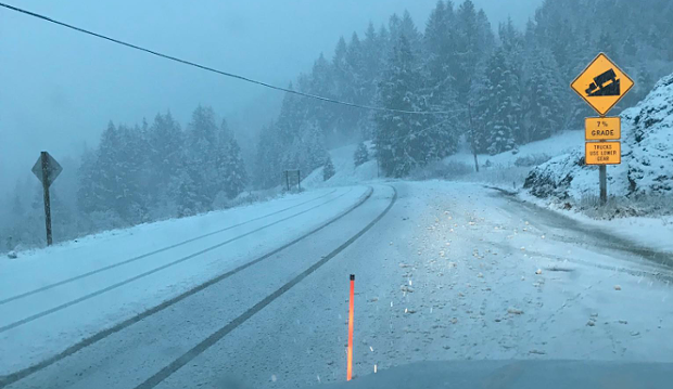 Snow on State Route 36 Saturday a.m. - CALTRANS