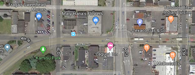 Fourth Street, where it changes from two lanes of traffic to three at R Street. - GOOGLE MAPS