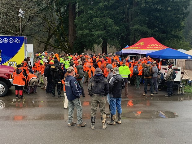 Search and rescue personnel from throughout Northern California are gathering at the command center near Benbow, readying for a massive effort today. - MARK MCKENNA