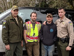 (Left to right): Humboldt County Sheriff's Sgt. Kerry Ireland, Abraham Hill, Delbert Chumley and Sheriff William Honsal pose after Chumley and Hill found the girls. - FACEBOOK