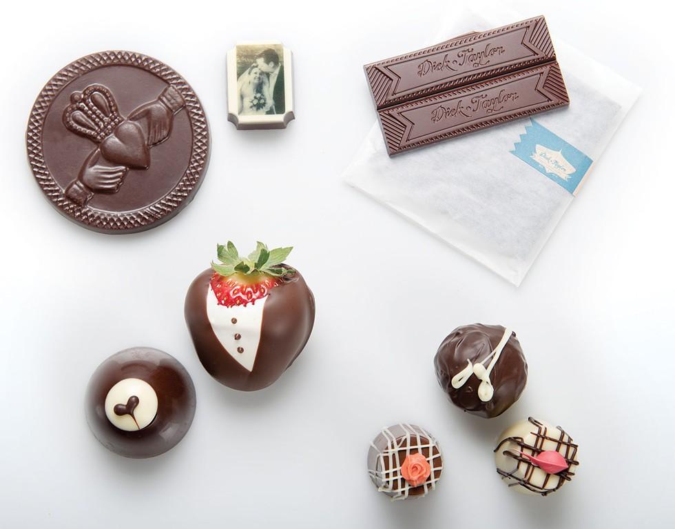 Clockwise from top left: Drakes Glen; Dick Taylor Craft Chocolate; Humboldt Chocolates; Old Town Coffee and Chocolates. Styling by Holly Harvey - MARK MCKENNA