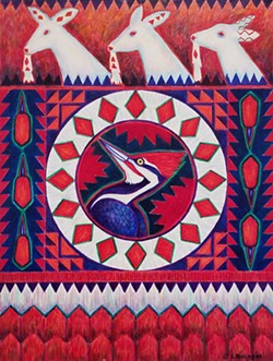 "Lyn Risling's acrylic on canvas painting ""Iktakataktihan (Woodpecker),"" 2008. - PHOTO BY GABRIELLE GOPINATH"