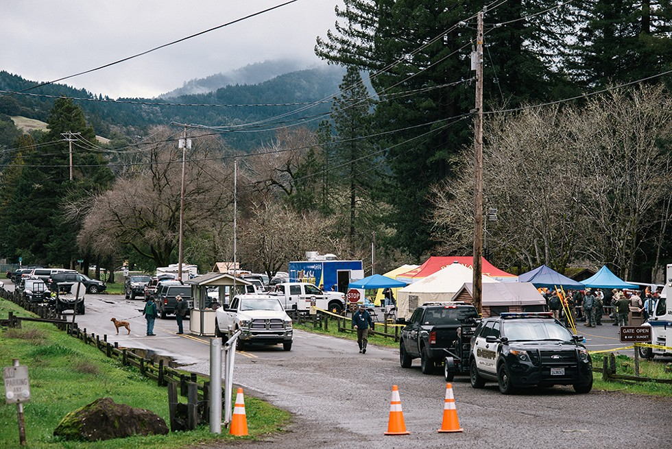 The staging ground for law enforcement conducting the search for 8-year-old Leia Carrico and 5-year-old Caroline Carrico, who went missing in the woods near their home in Benbow on March 1. - PHOTO BY ALEXANDRA HOOTNICK
