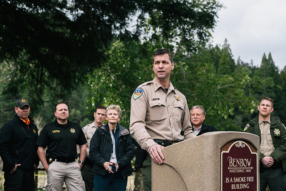 "Humboldt County Sheriff William Honsal, ""... we're all witnessing a miracle today."" - PHOTO BY ALEXANDRA HOOTNICK"