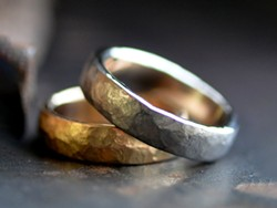 14k yellow gold + 14k white gold rings with brushed finsh by Rachel Smith of OTJ.