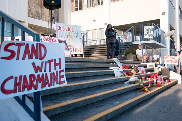 Charmaine Lawson speaks at a vigil at the Humboldt County Courthouse after a criminal grand jury declined to hand up indictments in the stabbing death of her son. - PHOTO BY MARK MCKENNA