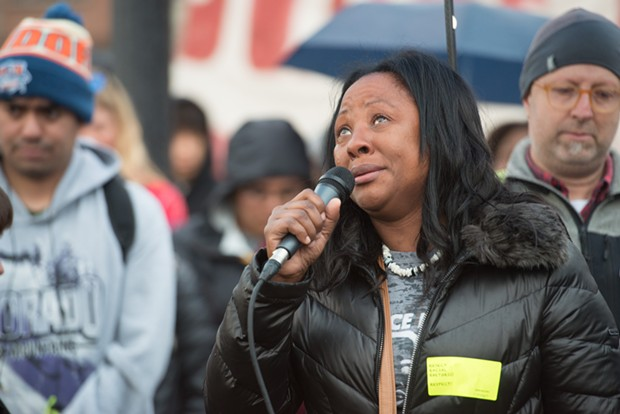Charmaine Lawson speaks to the crowd gathered to honor her son and demands justice for him on the second anniversary of his killing. - MARK MCKENNA