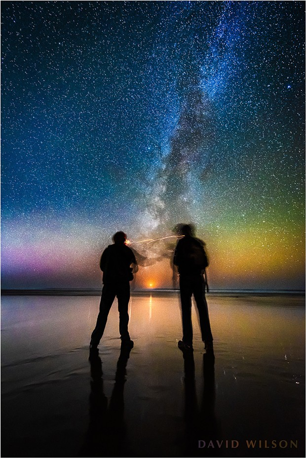 A Humboldt Moonset - High Saturation. What passes between friends as the crescent moon sets over the Pacific at the end of the Milky Way? Humboldt County, California. November 10, 2018. - DAVID WILSON