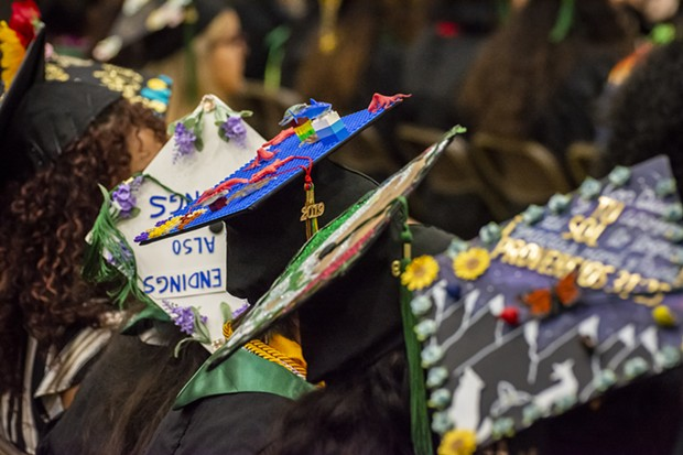 Creative mortarboard caps worn by graduating seniors at Friday and Saturday ceremonies at HSU. - PHOTO BY MARK LARSON