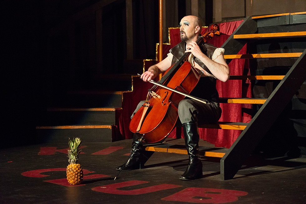 Gary Bowman plays cello as the Emcee. - PHOTO BY MARK MCKENNA