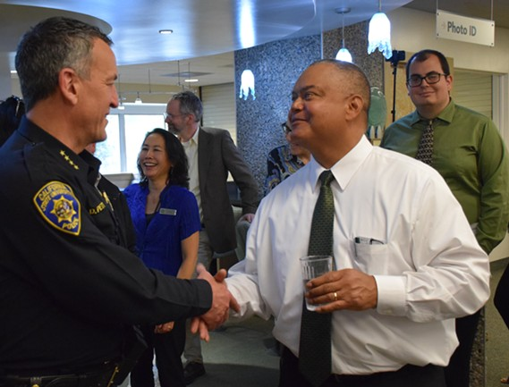 New HSU President Tom Jackson Jr. introducing himself to HSU Police Chief Donn Peterson. - IRIDIAN CASAREZ