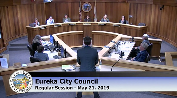The Eureka City Council questions staff on May 21. - SCREENSHOT