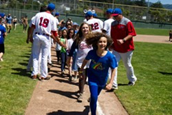 Youngsters finish rounding the bases after the Crabs' first home win of 2019 - MATT FILAR