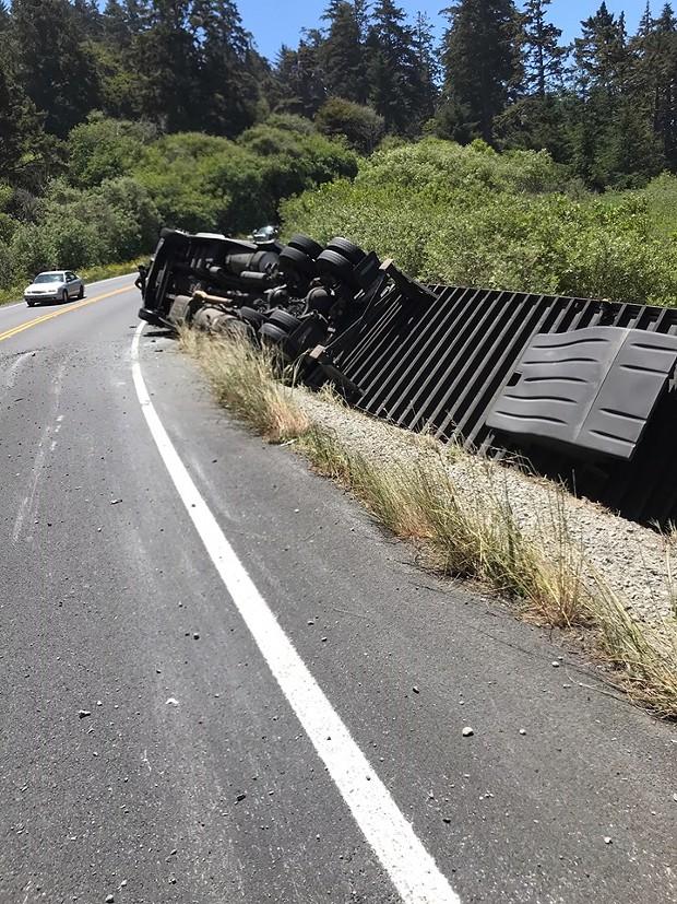 A big rig crashed near Big Lagoon. - CALTRANS