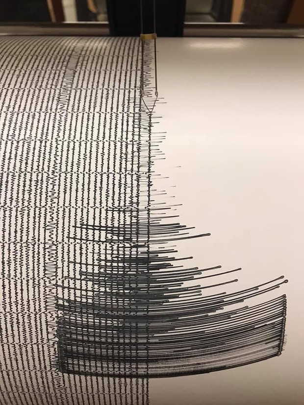 The seismograph at Humboldt State University recording of the quake. - REDWOOD COAST TSUNAMI WORK GROUP
